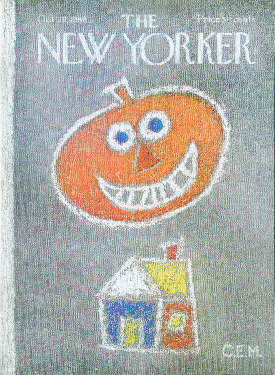 Image for New Yorker cover Martin Halloween pumpkin 10/26 1968