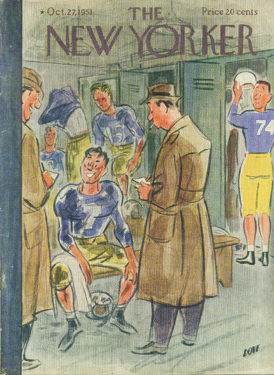 Image for New Yorker cover Dove football locker room 10/27 1951
