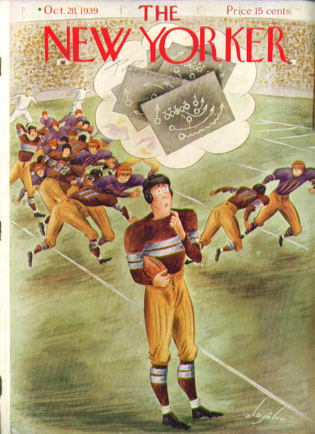 Image for New Yorker cover Alajalov football player 10/28 1939