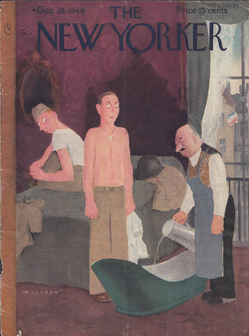 Image for New Yorker cover Cotton GI & French bathtub 10/28 1944