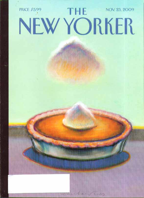 Image for New Yorker cover cloud formation over Thanksgiving pumpkin pie 11/23 2009