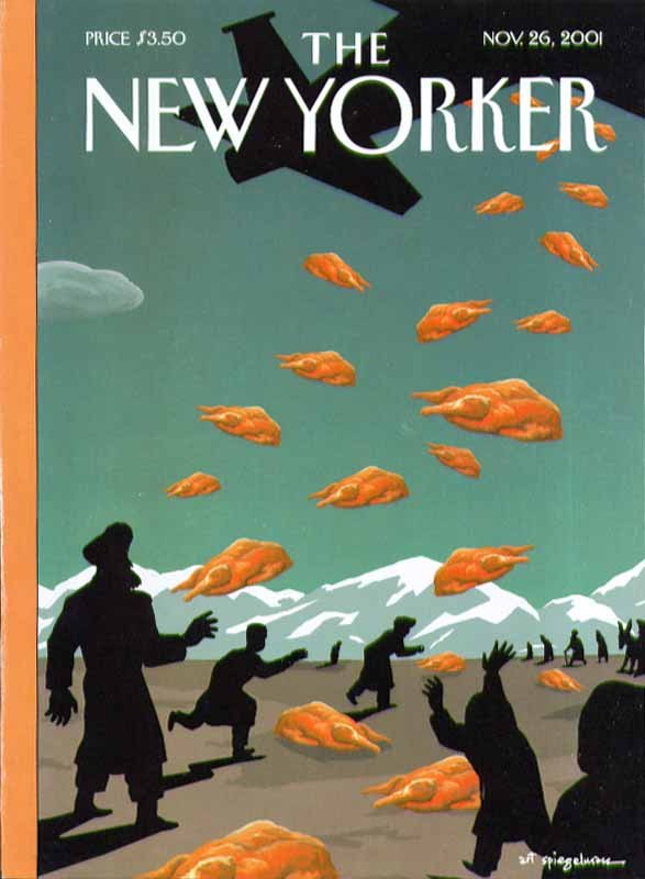 Image for New Yorker cover Spiegelman air drop of turkeys over Afghanistan 11/26 2001