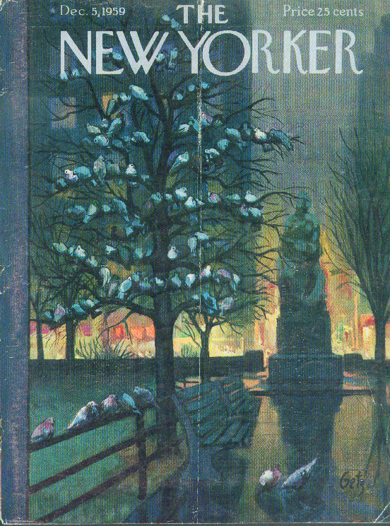 Image for New Yorker cover Getz park pigeons roost 12/5 1959