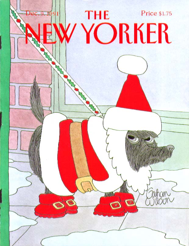 Image for New Yorker cover Gahan Wilson Santa dog 12/9 1991