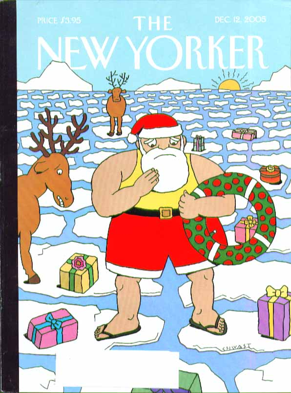 Image for New Yorker cover Chwast Santa Claus & reindeer on melting polar ice 12/12 2005