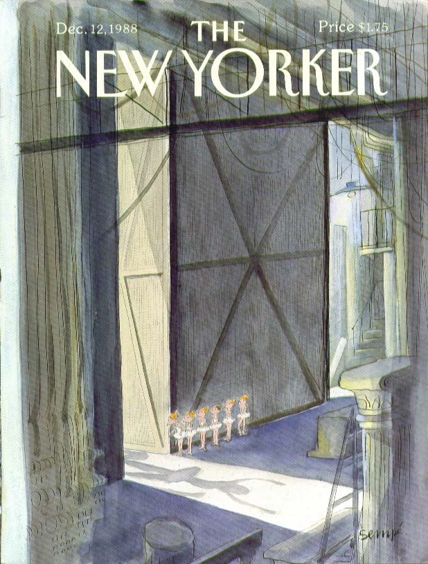 Image for New Yorker cover Sempe ballerinas await cue 12/12 1988