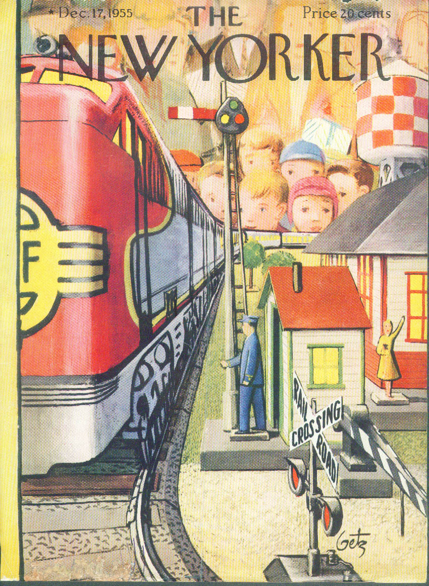 Image for New Yorker cover Getz electric trains Christmas toy shopping 12/17 1955