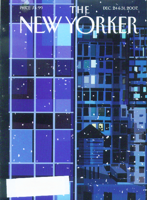 Image for New Yorker cover solitary lady reading thru highrise snowscape 12/24 12/31 2007