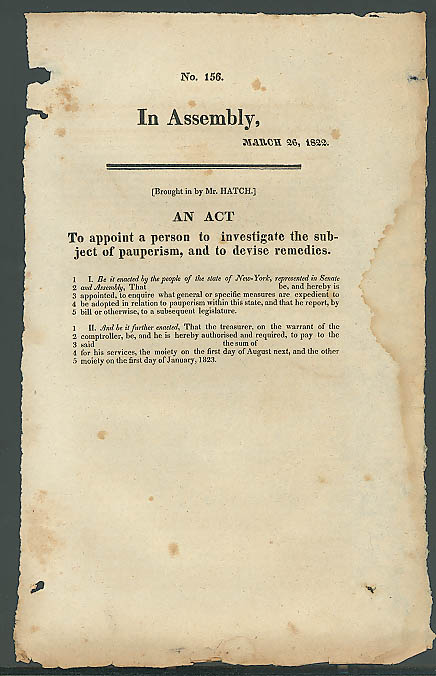 Image for 1822 New York State pauperism remedies act