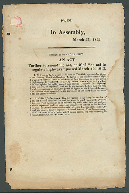 Image for 1822 New York State highway regulation act