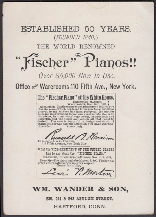 Image for World's Renowned Fischer Piano trade card 1889 Wm Wander & Son Hartford CT