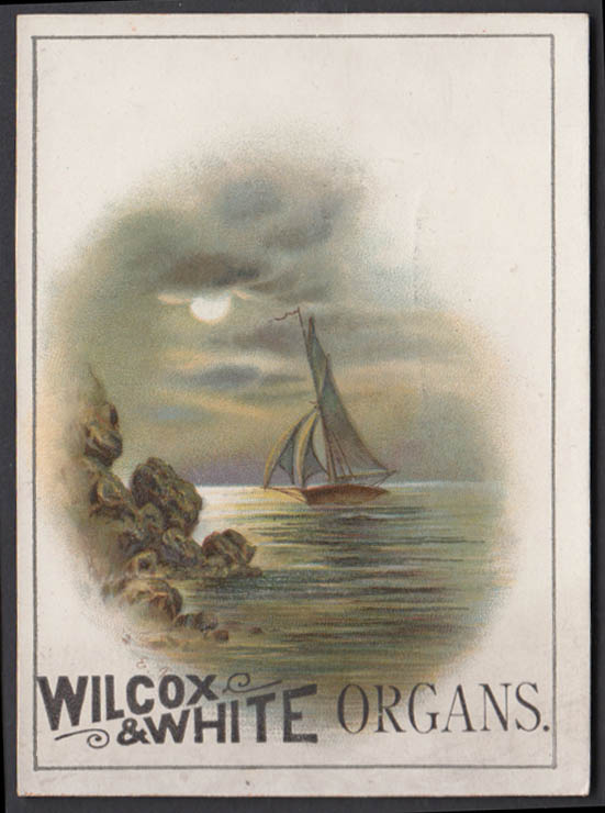 Image for Wilcox & White Player Organs trade card 1880s sailboat near shore Meriden CT