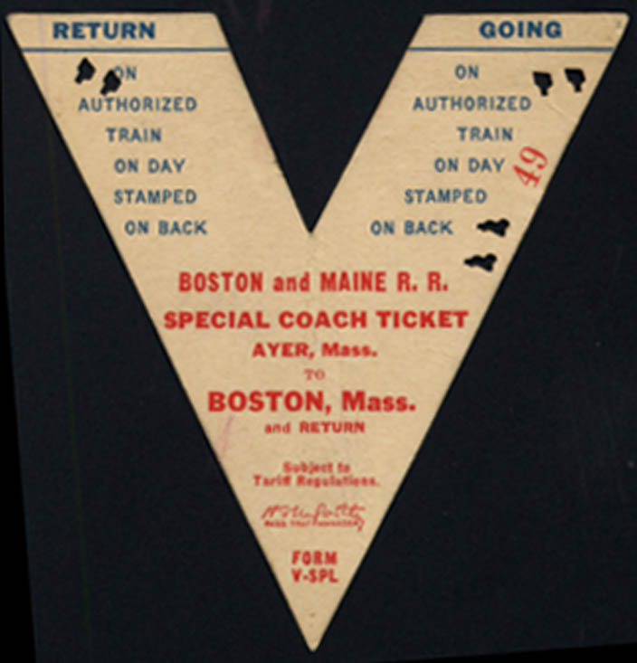 Image for Boston & Maine RR Special Coach Ticket Ayer-Boston 8/26 1941