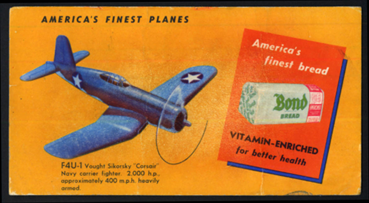 Image for Bond Bread America's Finest Planes blotter F4U-1 Vought Sikorsky Corsair