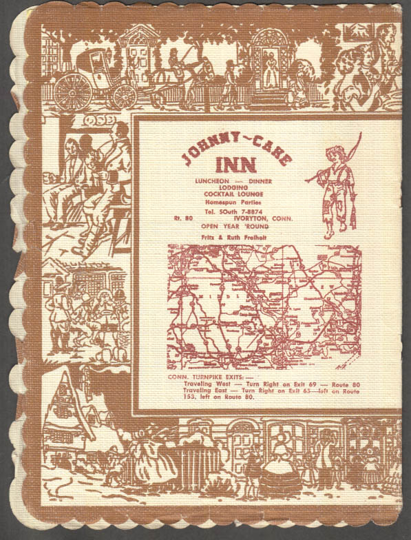 Image for The Johnny-Cake Inn Story & Menu Ivoryton CT 1959