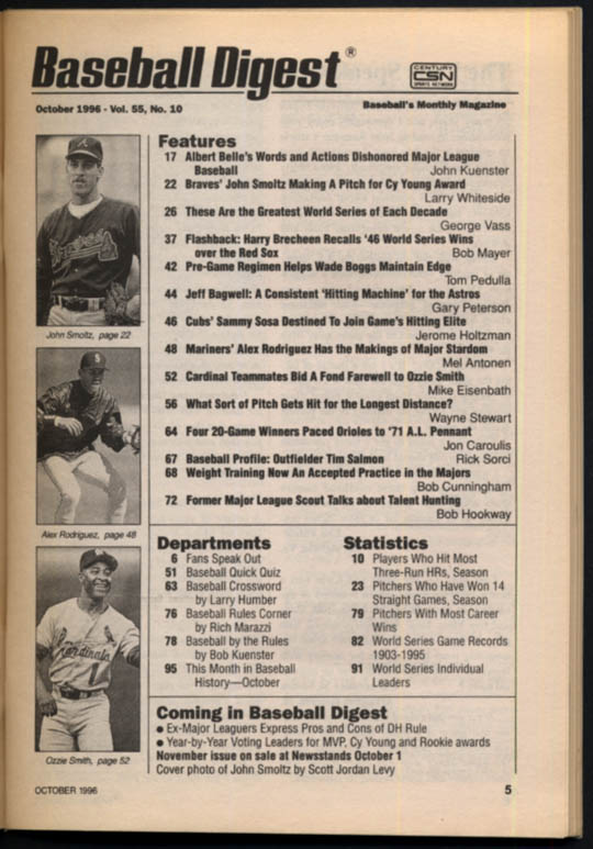 Image for BASEBALL DIGEST 10 1996 John Smoltz Alex Rodriguez Ozzie Smith Jeff Bagwell