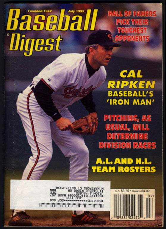 Image for BASEBALL DIGEST 7 1995 Cal Ripken Gene Mauch Larry Doby Lou Gehrig Gallaraga
