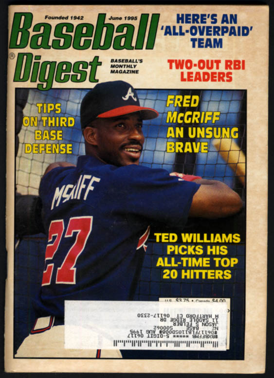 Image for BASEBALL DIGEST 6 1995 Fred McGriff Brooks Robinson Ted Williams Karkovice