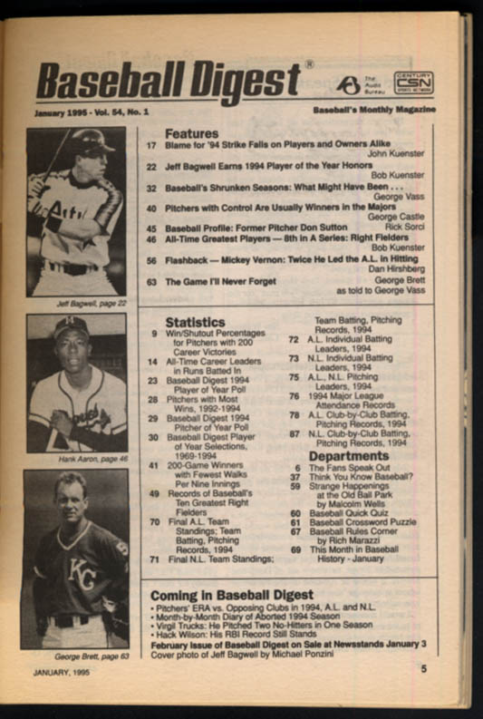 Image for BASEBALL DIGEST 1 1995 Jeff Bagwell George Brett Don Sutton Mickey Vernon