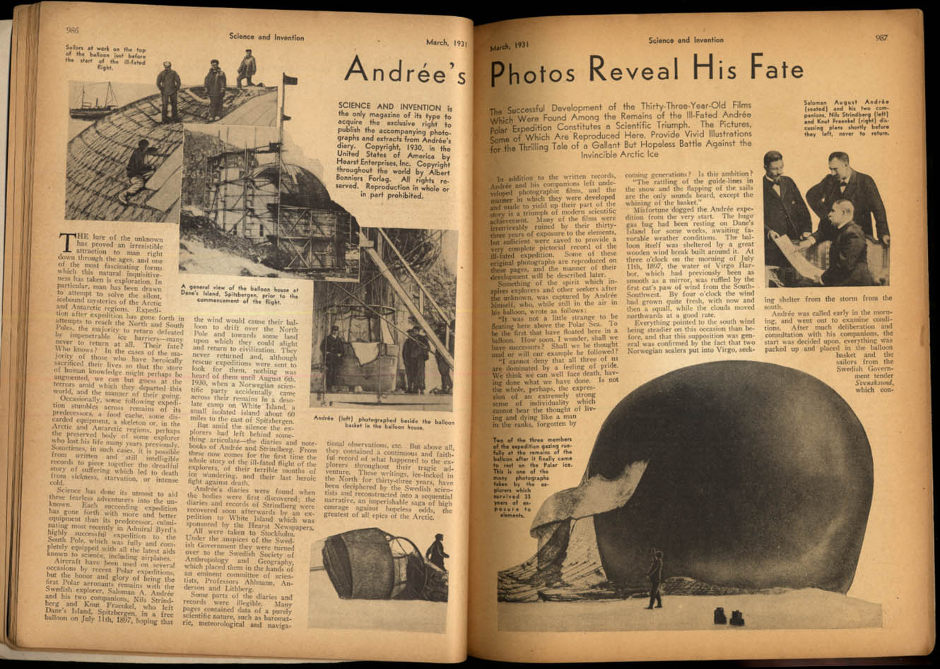 Image for SCIENCE & INVENTION 3 1931 Andree's Arctic Fate; Deep Sea with Williamson +