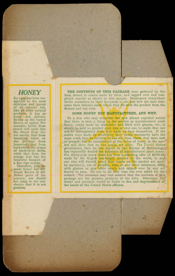 Image for Comb Honey Always Pure unused carton ca 1920s