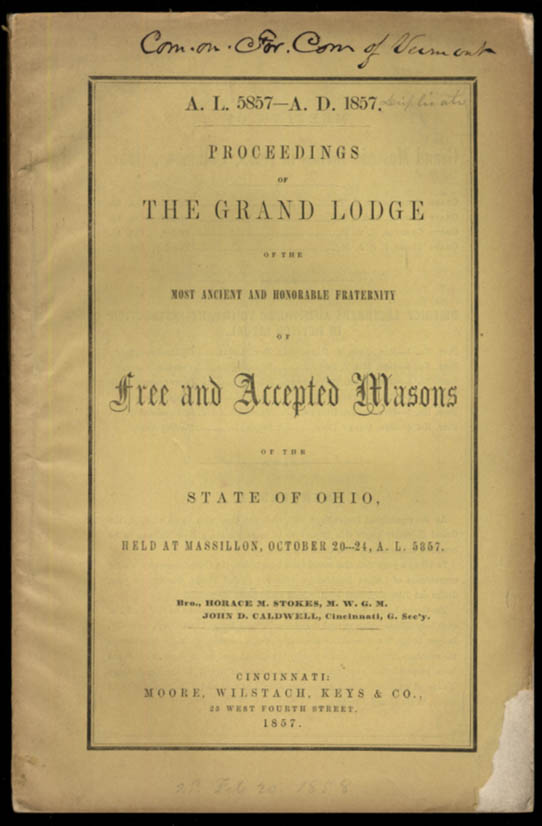 Image for State of Ohio Grand Lodge of Free & Accepted Masons Proceedings 1857