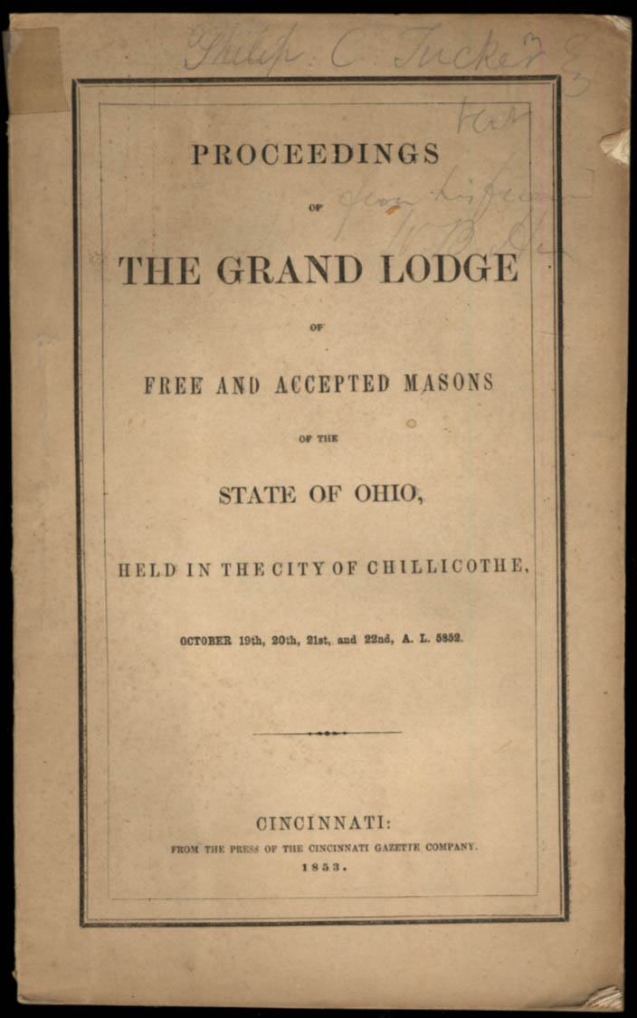 Image for State of Ohio Grand Lodge of Free & Accepted Masons Proceedings 1853