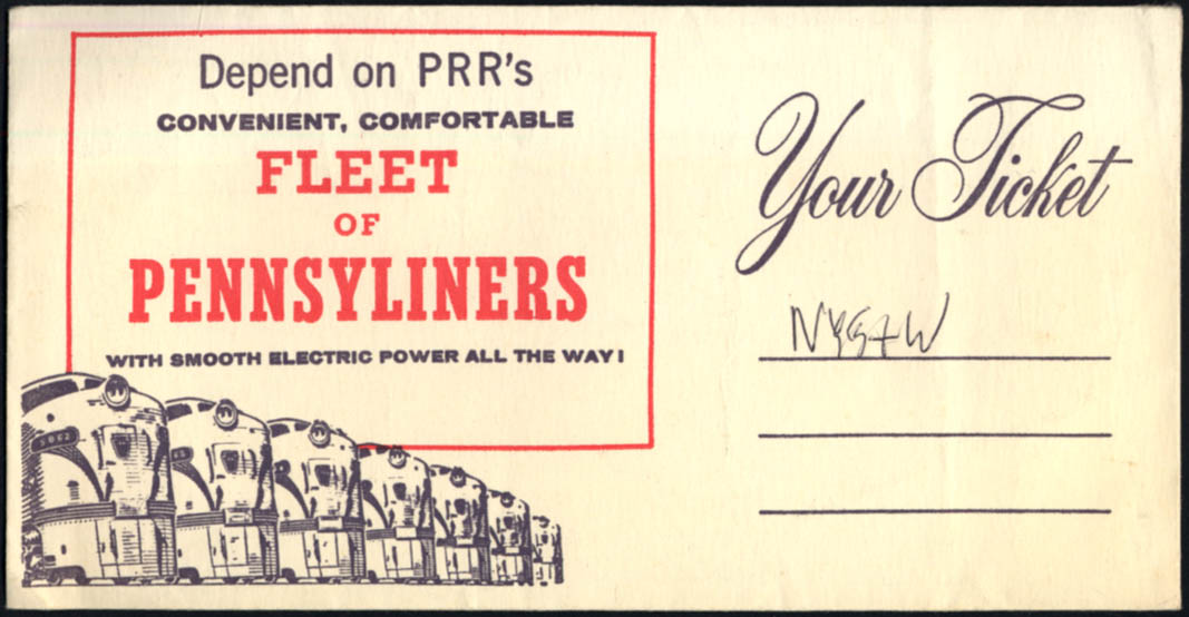Image for Pennsylvania Railroad ticket envelope Fleet of Pennsyliiners 1950s