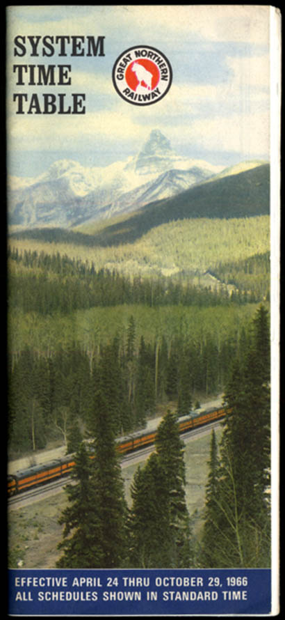 Image for Great Nothern Railway System Timetable 4/24-10/29 1966