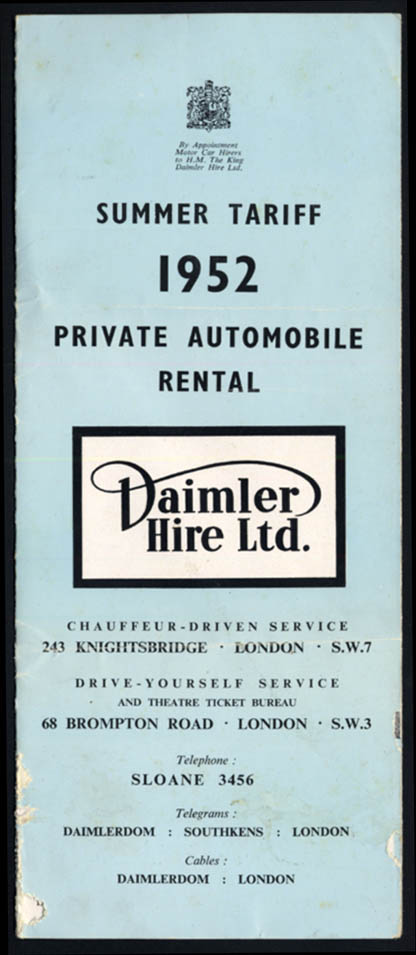 Image for Daimler Private Automobile Rental Summer Tariff Rate folder 1952