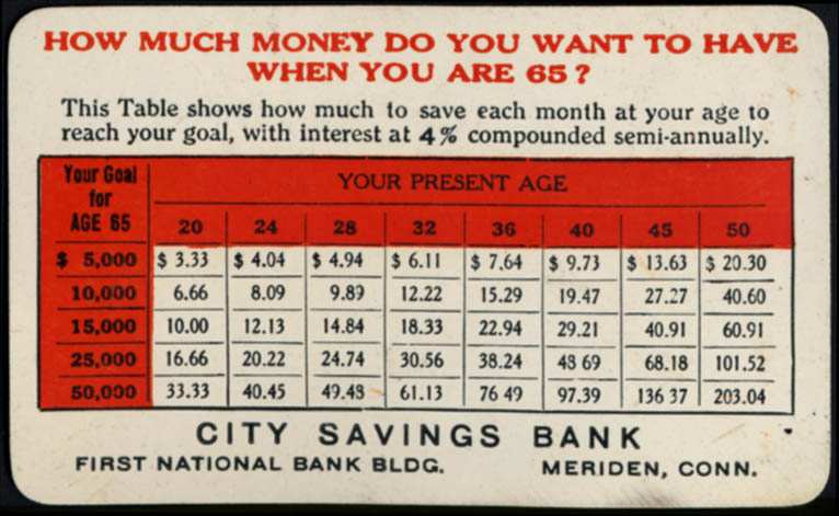 Image for City Savings Bank Meriden CT pocket plastic calendar card 1926