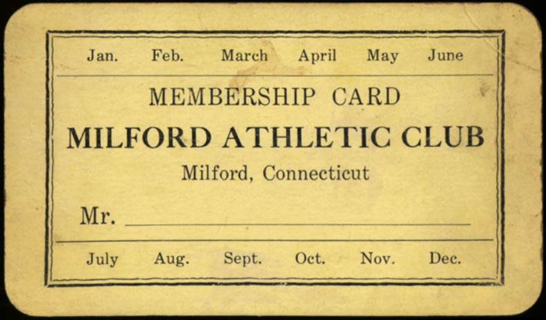 Image for Milford CT Athletic Club Membership Card ca 1940s