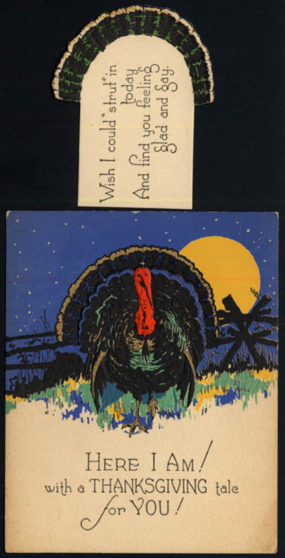Image for Here I Am! animated Thanksgiving Turkey card ca 1920s