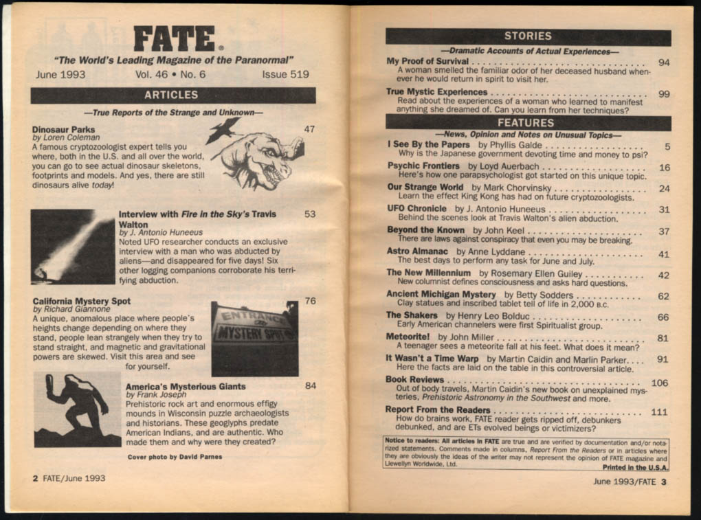 Image for FATE 6 1993 Dinosaur parks; Travis Walton Fire in the Sky; Mystery Spot CA