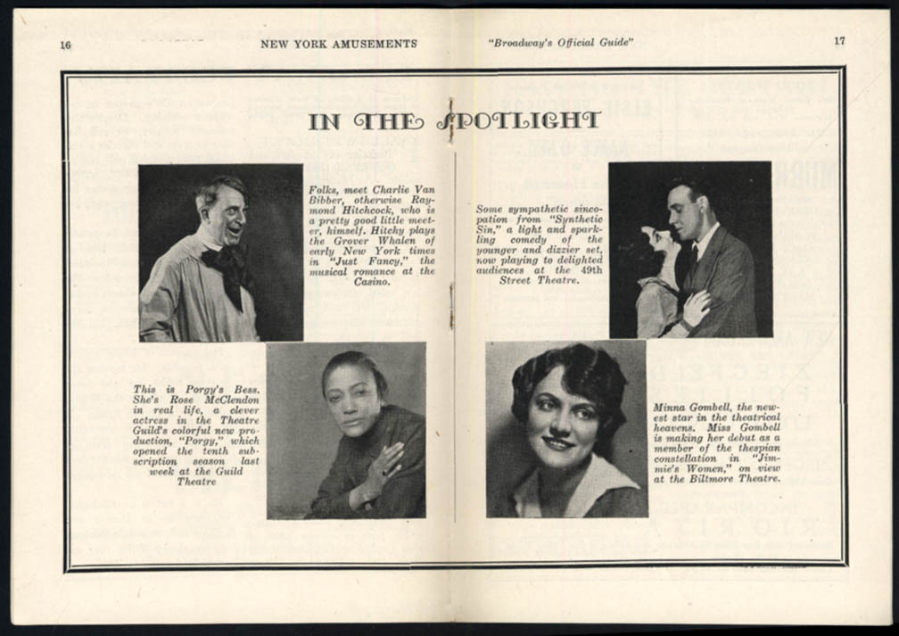 Image for New York Amusements Broadway Guide 10/27 1927 Violet Kemble-Cooper
