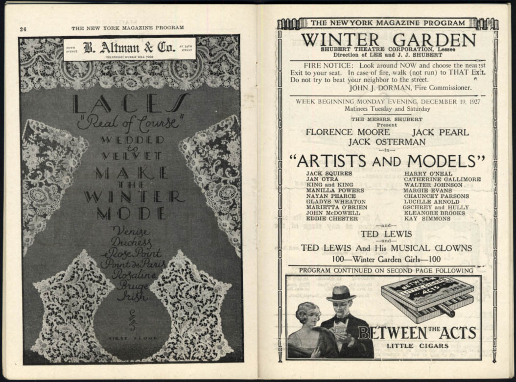 Image for Winter Garden Theatre program Artists & Models 1927 Florence Moore Jack Pearl +