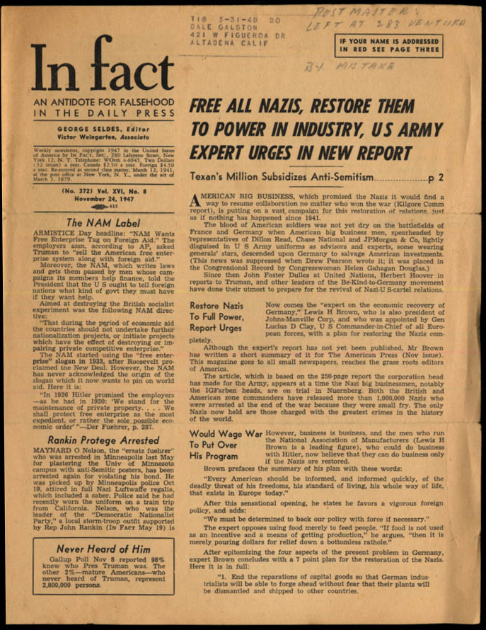 Image for IN FACT Antidote for Falsehood in the Daily Press 11/24 1947 Free All Nazis?