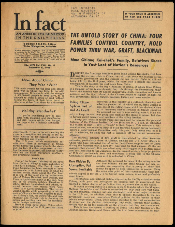 Image for IN FACT Antidote for Falsehood in the Daily Press 12/13 1948 Chiang loots China