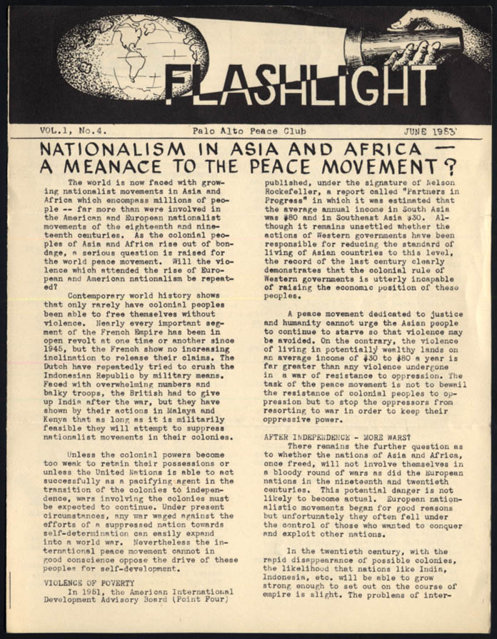 Image for Palo Alto Peace Club FLASHLIGHT 6 1953 Asian & African Nationalism vs Peace?