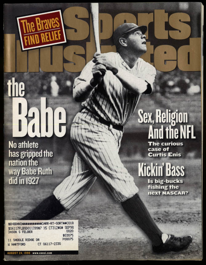 Image for SPORTS ILLUSTRATED 8/24 1998 Babe Ruth 1927 Curtis Enis Pro Bass Fishing Braves