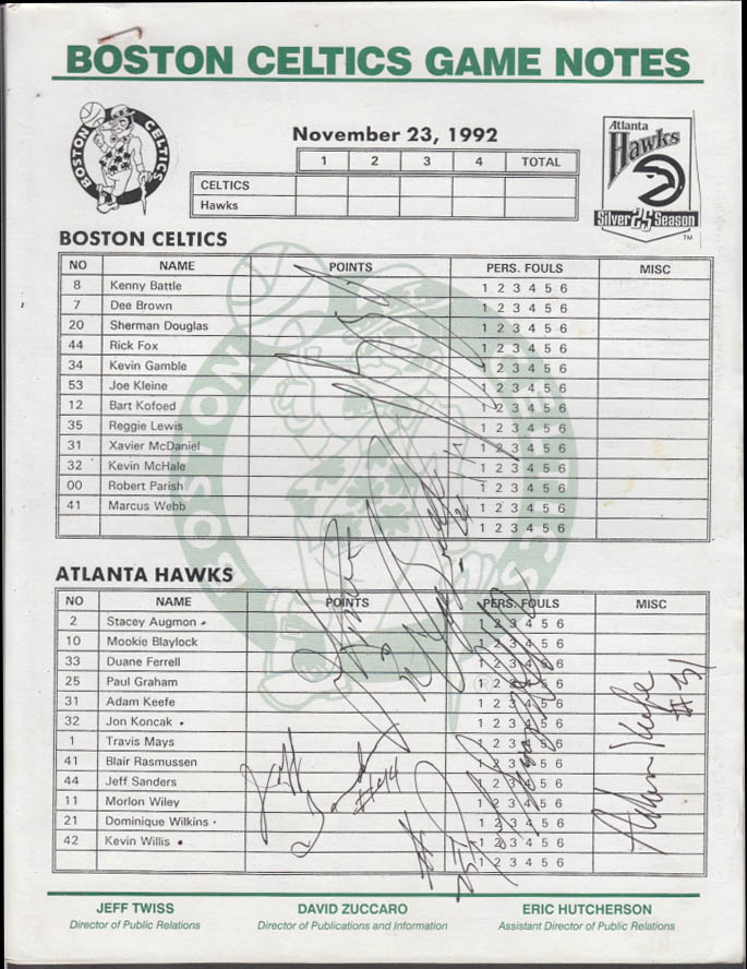 Image for Boston Celtics-Atlanta Hawks Game Notes 11/23 1992 Hawks player autographs