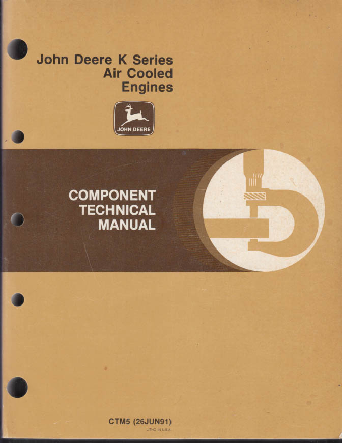 Image for John Deere K Series Air Cooled Engines Component Technical Manual 1991