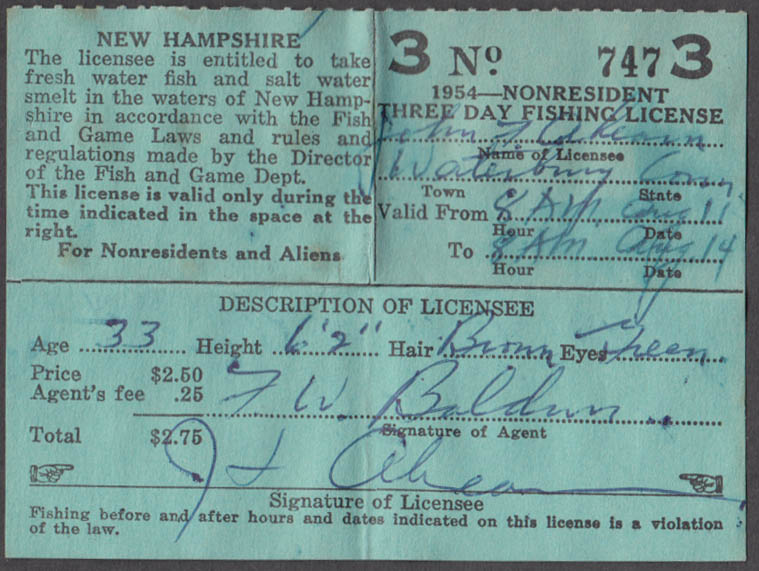 Image for State of New Hampshire Non-Resident 3-Day fishing license 1954 #747