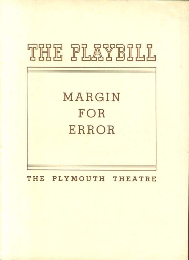 Image for Otto Preminger Margin for Error Playbill 1939 Premiere