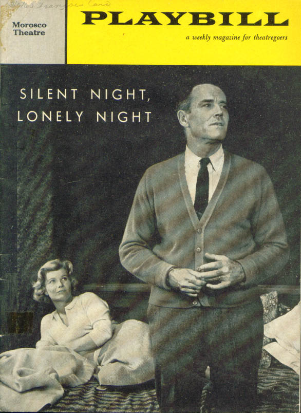 Image for Henry Fonda Silent Night Lonely Night Playbill 1960
