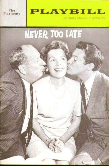 Image for Never Too Late Playbill 7/8/63 Maureen O'Sullivan ++