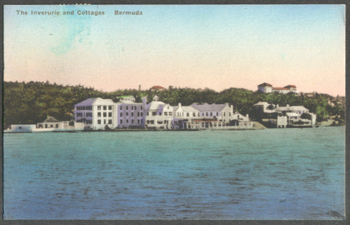 Image for The Inverurie & Cottages from waterside Bermuda postcard 1938