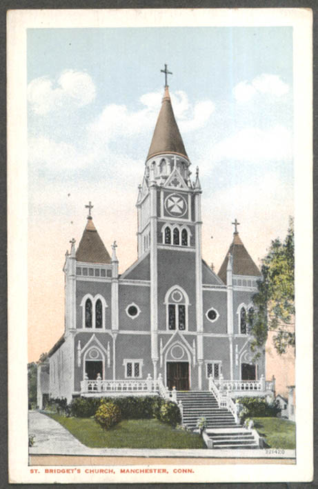 Image for St Bridget's Church Manchester CT postcard 1910s