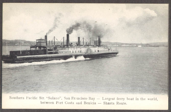Image for Southern Pacific SS Solano San Francisco Bay CA undivided back postcard 1900s