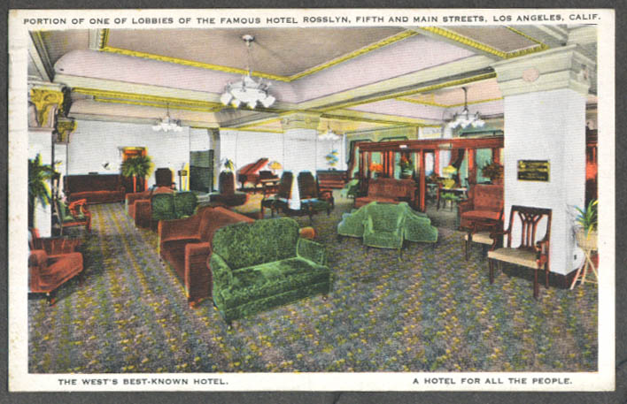 Image for Lobby Hotel Rosslyn 5th & Main Los Angeles CA postcard 1933
